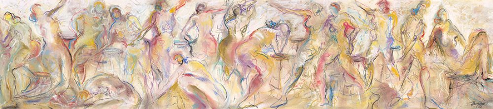 Dancers in Repose is an original drawing of multiple nude figures and is for sale here by the artist Benjye Troob