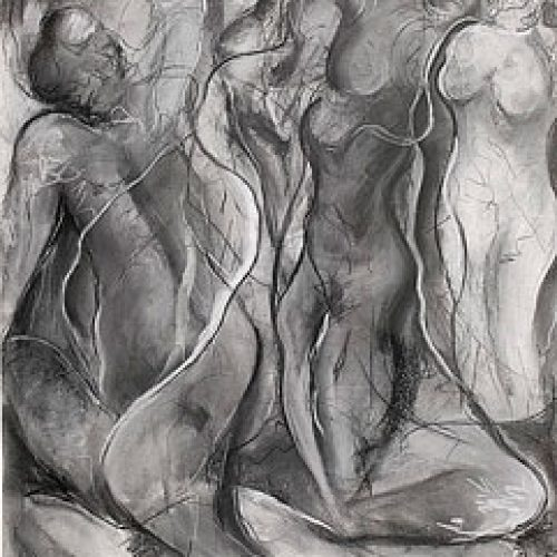 Meditation in Black is an original drawing of multiple nude figures and is for sale here by the artist Benjye Troob