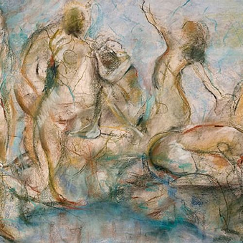 Nymphs is an original drawing of multiple nude figures and is for sale here by the artist Benjye Troob