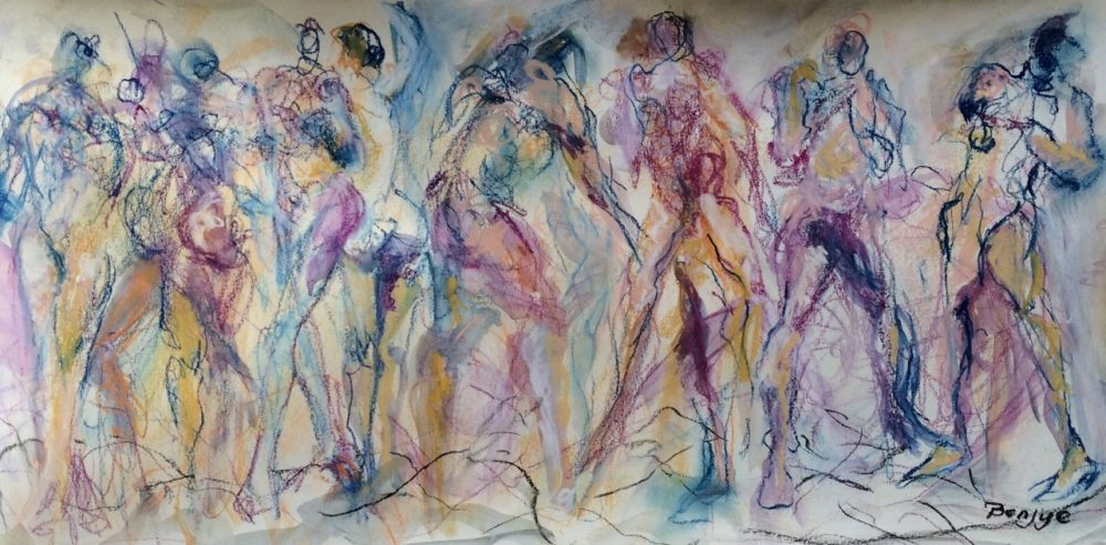 Original Nude Multiple Figure Pastel by Artist Benjye Troob