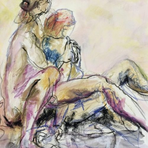 This original single nude figurative pastel only here at benjye.com