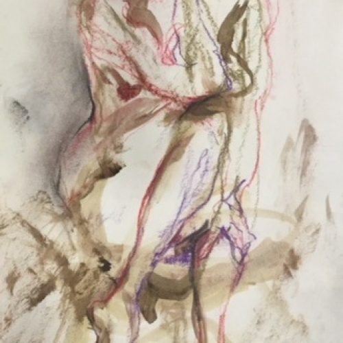 Original nude single figure drawing from drawing studio