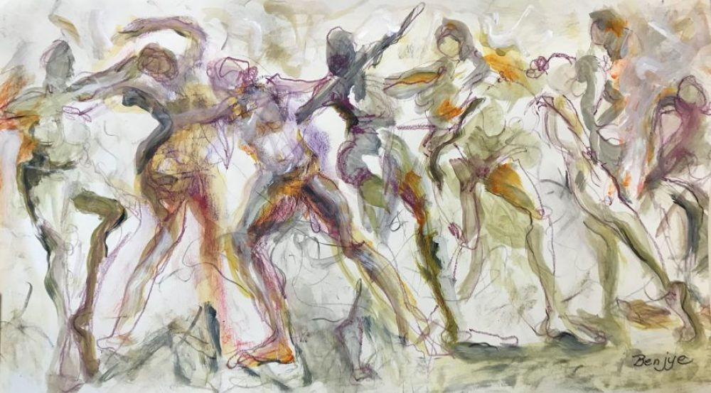 Lively nude figurative drawing